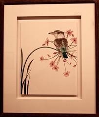 """Kingfisher on Soapbox,"" Watercolor by Francine Fox (ali eminov) Tags: wayne nebraska colleges waynestatecollege artgalleries noedstrandvisualartsgallery artists francinefox paintings kingfisheronsoapbox birds kingfisher"