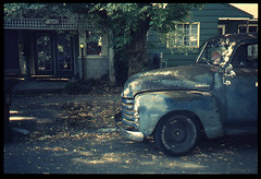 1950(?) Chevy 3100 Pickup (Robert Drozda) Tags: portland oregon truck pickuptruck chevrolet3100 film fpp retrochrome colortransparency colorslide kodak olympus styluszoom drozda