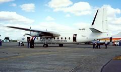 PH-KFG   Fokker F-27-200 Friendship [10249] (Fokker F27 Friendship Association) RAF Fairford~G 22/07/1995 (raybarber2) Tags: 10249 abpic airportdata brokenup cn10249 cancelled dutchcivil egva filed flickr phkfg planebase print propliner raybarber