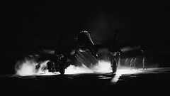 Ghosts from the Past (davepickettphotographer) Tags: uk england aviation aeroplane lincolnshire justjane portraits vintage aircraft lancaster ww2 bomber reenactors raf airmuseum avro secondworldwar avrolancaster timelineevent lincolnshireheritageaviationcentre night photography ghost flight nighttime uniforms ghostly figures reenactment wartime blackandwhitephotography