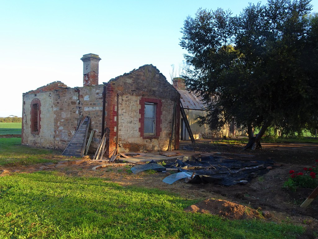 Poonindie. Ruins of  the old accommodation block for Aborigines on the former Anglican Aboriginal Mission. Opend in 1854 and closed in  1894.