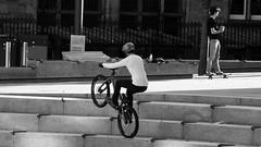 Bunny Hop (byronv2) Tags: blackandwhite bw monochrome street candid peoplewatching edinburgh edimbourg bicycle cycling cycle bunnyhop steps stairs stunt potterrow southside bike sport bristosquare