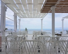 Dining Terrace - White and Blue - Bianco Olympico (Gilli8888) Tags: cameraphone samsung s7 galaxy greece greek halkidiki hotel biancoolympico white chairs tables columns macedonia vatopedi sithonia linea geometric geometry