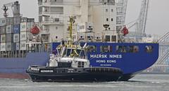 MAERSK NIMES & MULTRATUG 33 (kees torn) Tags: multratug33 multratug32 multraship tug damenshipyard europoort denieuweprins ret fastferry maersknimes beerkanaal containerschepen