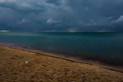Lake Michigan Evening (nebulous 1) Tags: lakemichigan indiana indianadunesnationalpark weather clouds eveing gull beach nikon nebulous1 glene