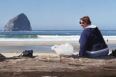 Oregon Coast - Cape Kiwanda - 2005 (tonopah06) Tags: loretta 2005 capekiwanda oregon pacificcity pacificocean ocean beach shore surf or seascape haystack kodacolor negative pacific