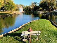 Ali on his island, Ta-Ha Zouka Park Lagoon, Photo by CRudin (ali eminov) Tags: norfolk nebraska parks tahazoukapark lagoons benches ali