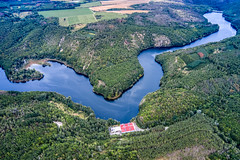 Backwater (The Adventurous Eye) Tags: dukovany vysočinaregion czechrepublic dam přehrada water reservoir artifical lake aerial landscape photography