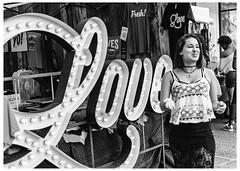 Strangers To Love (swanksalot) Tags: strangers love sign blackandwhite bw tweeted chicago wickerpark fresh explore explored