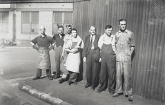 Staff of the coffee roasting department, corner of Playfair and Atherton Streets, The Rocks, Bushells Tea Factory, Sydney, 1936 (State Library of New South Wales collection) Tags: bushells tea manufacturing sydney 1930s coffee workers harrington atherton street therocks kismet wylde demolished houses