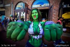 She-Hulk Smash! (Sam Antonio Photography) Tags: marvelcomics avengers shehulk comiccon comicconinternational hulk comics halloween green female woman fist closeup wideangle marvel costume cosplay cosplayer strong strength
