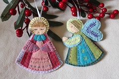 Beautiful Pair of Hand Embroidered Holiday Angel Ornaments (TheFriendlyCo.) Tags: etsy handmade embroidered felt ecofriendly angel holiday christmas ornament decoration gift wool celestial heavenly hanging hand