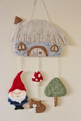 Handmade Woodland/Gnome House Mobile /Wall Hanging (TheFriendlyCo.) Tags: etsy handmade embroidered felt ecofriendly woodland gnome elf fairy mobile baby toddler kids child nursery bedroom decoration wall hanging mushroom fox hut