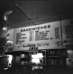 No Free Lunch (cbadams2) Tags: 2014 20140722b blackandwhite diner holga ilforddelta3200 july playdatejeff toycamera