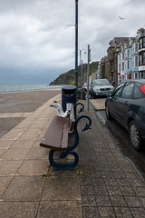 May Take a Look (Jocey K) Tags: triptoukanderoupe2019 june uk wales aberystwyth sea seaside cars evening beach seat seagull birds bin rubbishbin sky clouds building architecture hills