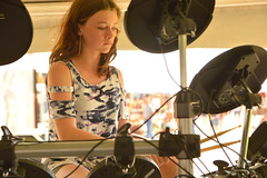 Rocking the new style of drums (radargeek) Tags: piedmont foundersday 2019 september drumset electronic girl live music oklahoma earring teen