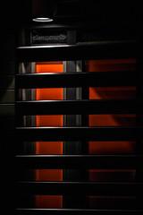 Shutters - DSC00266 wm 1080 (cleansurf2) Tags: shutters black red orange dark simple silhouette sony screensaver simplicity lines light night mirrorless minimual minimalism modern architecture building city