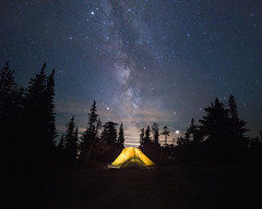Ablaze (StevenScarcello) Tags: nightphotography nightscape nightsky night landscape tent light lights trees nature forest