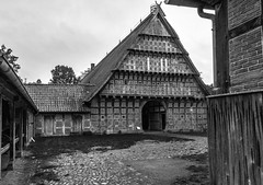 Loudmouth (Zoom58.9) Tags: house farmhouse path roof bw monochrome europe germany niedersachsen cloppenburg haus bauernhaus weg dach sw europa deutschland sony sonydscrx10m4 outside draussen museumvillage museumsdorf