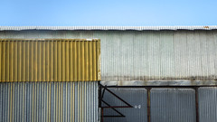 Layers of sheds - Explored #258, 9 October 2019 (Theen ...) Tags: lumix rectangle blue iron kenttown theen adelaide industrial littlekingwilliamstreet roof sky shed curved yellow pnanels corrugated
