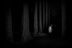 magic in the dark (the ripped bystander) Tags: blackwhite deer female forest night darkness dance