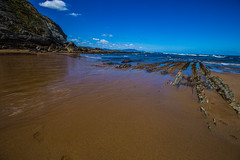 Baskenland0052Sopela (schulzharri) Tags: baskenland basque spanien spain espana bilbao reise travel strand beach meer ocean atlantik sonnenuntergang felsen rock water himmel wasser sky