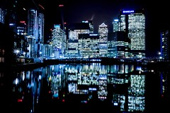 Blackwall Basin (Douguerreotype) Tags: london blue dark uk water british buildings cityscape architecture city reflection britain night gb urban england