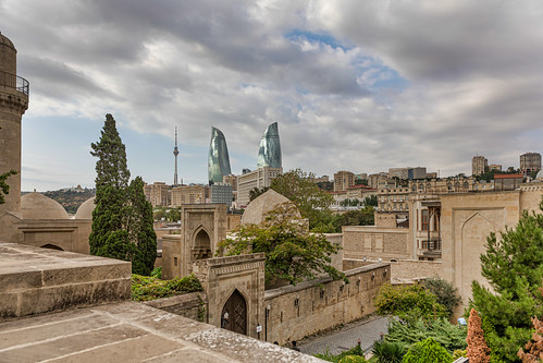 view of Baku from the old city