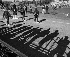 Shadow Fans (mgstanton) Tags: nh sports exeter football shadow fans bw blackandwhite game cheerleader field athletics