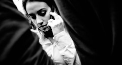 Window of opportunity. (Baz 120) Tags: candid candidstreet candidportrait city contrast street streetphoto streetcandid streetportrait strangers rome roma ricohgrii europe women monochrome monotone mono noiretblanc bw blackandwhite urban life anzio portrait people provoke italy italia grittystreetphotography faces decisivemoment