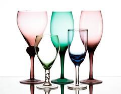 Glasses (Karen_Chappell) Tags: glass glasses white pastel green pink stilllife product color colours colour colors colourful multicoloured five 5 blue stemware glassware
