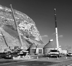 Cranes in black & white (phil da greek) Tags: blackwhite crane northbay uk northyorkshire scarborough