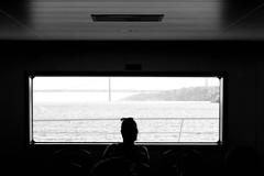 View on the Taag (driescalcoen) Tags: bw lady ferry belem lisbon lisboa bridge taag window