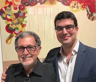 Artist Mario Bencomo with Sergio Cernuda, Call partner of LnS Gallery at LnS Gallery opening night