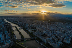 Sunset from the Eiffel Tower (pa_cosgrove) Tags: paris france eiffel tower sunset clouds sunbeams city cityscape river siene bridges