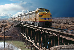 Weathering the Storm (jamesbelmont) Tags: weather trestle storm locomotivetrain railroad train utah lynndyl trestleleamington sevierriver e9 streamliner passenger unionpacific