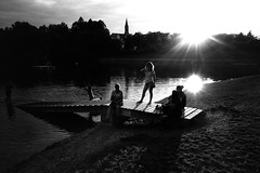And it was summer (Ricoh GR1) (stefankamert) Tags: summer film analog analogue grain light shadows people sun water lake ricohgr ricoh gr1 kodak trix noir noiretblanc blackandwhite blackwhite stefankamert bw backlight refections 0919