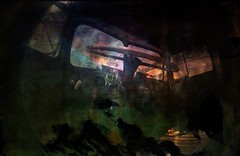 Convoy (Crusty Da Klown) Tags: kootenays sandon ghosttown bc britishcolumbia canada semi truck convoy lomo lomography fisheye camera lens film kodak pov summer vehicle contrasts textures colors colours vintage retro offtotherodeo steering wheel