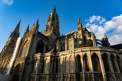Notre Dame De Bayeux (pa_cosgrove) Tags: bayeux normandy france cathedral church notre dame sony a73 sky twilight steeple flyingbuttress gothic medieval