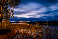 Seasons change (mabuli90) Tags: finland lake water forest tree sky autumn fall night nature landscape longexposure
