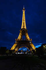 Eiffel Tower at Night (pa_cosgrove) Tags: paris france eiffel tower night lights sky clouds