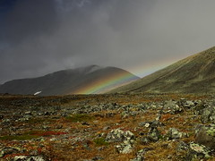 CLouds and rainbow (dration) Tags: sweden lapland landscape rainbow mountain clouds