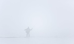 1908_9108 Fogbound Fisherman (wild prairie man) Tags: fishing fisherman fisher casting flyfishing fog highkey onwhite pale man solo sportfishing salmon hopeful fogbank fogbound wild coast coastal britishcolumbia bc canada copyrighted jamesrpage explored
