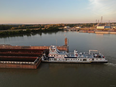 W SCOTT NOBLE (Joe Schneid) Tags: drone ingrambargeco louisvillekentucky mavic2 mavic2zoom mcalpinelocks ohioriver portlandcanal towboat wscottnoble dji sunset