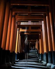 Shrine spirit (jbrad1134) Tags: 2019 xt3 fujifilm fuji fushimiinari fushimi adventure shadows ghost night travel japan temple orange shrine kyoto longexposure