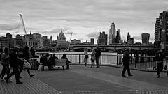 South Bank (Croydon Clicker) Tags: blackwhite whiteblack monochrome greyscale people pathway view bridge skyscraper cathedral dome cranes nikon tokina london waterloo blackfriars sky cloud