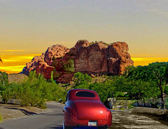 Camelback Mountain (oybay©) Tags: phoenix scottsdale arizona az mountain rock neighborhood car automobile ford roadster wifemad street sunset color colors colorful sky clouds classic