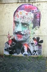 Punk's Not Dead (Robert Saucier) Tags: rome roma streetart graffiti sticker mur wall pavement stencil img7607