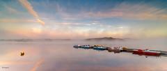 Miroir d'eau (Soregral) Tags: lac lake miroir mirror bateau boat pont reflet reflection rose lever jour soleil sunrise mist brume ciel sky nuage cloud