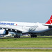 Turkish Airlines plane taking off from Amsterdam Airport
